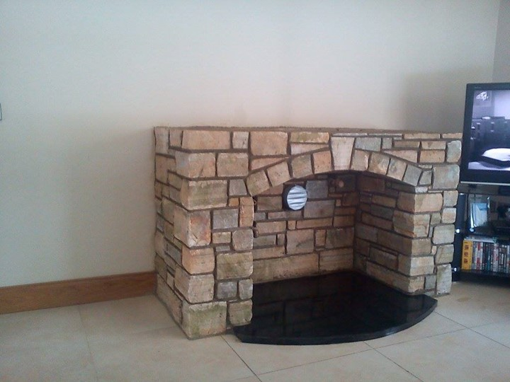 Stone fireplace in Kildare built by AT Stonemason