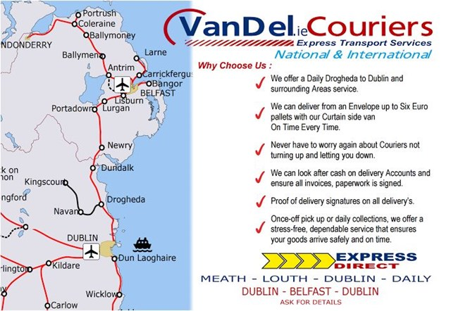 Couriers service Drogheda.